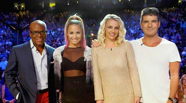 """The X Factor"" judges L.A. Reid, left, Demi Lovato, Britney Spears and Simon Cowell."