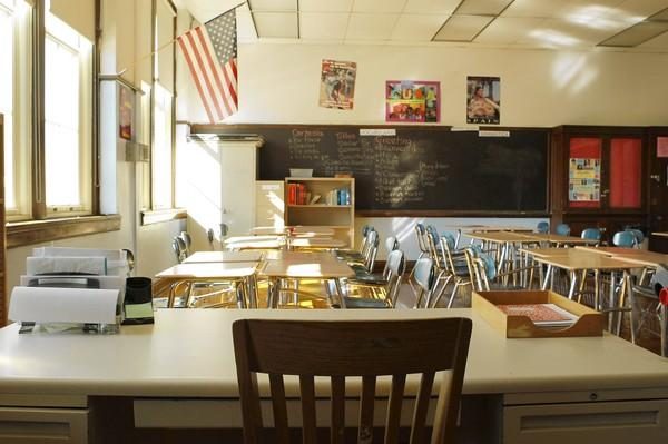 The classrooms are empty Tuesday at Senn High School on Chicago's Far North Side during the teachers strike.