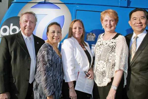 Early to arrive at the ABC7 Broadcast Center for Ascencia were, from left, Glendale City Councilmember Dave Weaver with wife Linda, Glendale Educational Foundations Addora Beall and Laurel Patric and Ascencia Board Chairman Nick Lam.