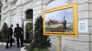 Paintings in museum-quality frames are popping up outdoors around town — displayed on a post just outside the entrance to Baltimore's City Hall and along Patterson Park, mounted to the wall on a corner of the Avenue in Hampden.