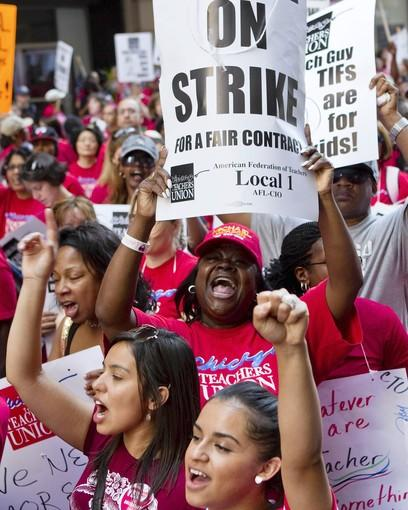 Striking Chicago public school teachers rally in the Loop on Tuesday.