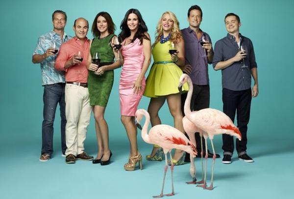 "Brian Van Holt (from left), Ian Gomez, Christa Miller-Lawrence, Courteney Cox, Busy Philipps, Josh Hopkins and Dan Byrd for ""Cougar Town."""
