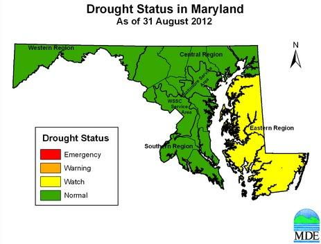 The Eastern Shore, which had been under a drought warning, has been upgraded to a drought watch, while Central Maryland has returned to normal conditions.