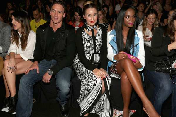 (L-R) Ryan Lochte, Lauren Conrad and Tika Sumpter attend the Rebecca Minkoff show.