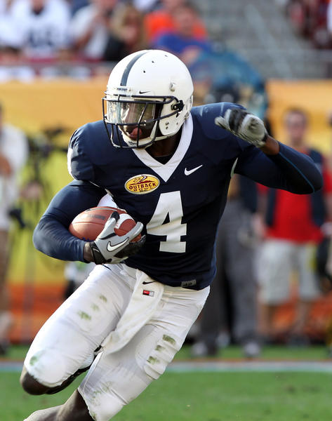 Former Penn State Nittany Lions wide receiver Shawney Kersey runs with the ball during the 2011 Outback Bowl.