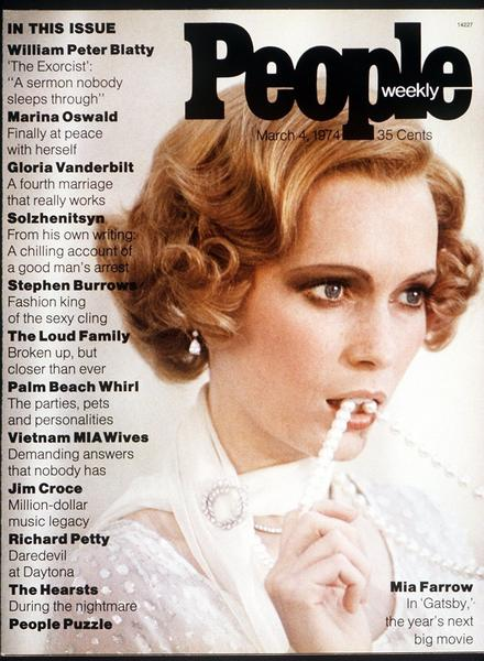 "Anticipation for seeing Mia Farrow as Daisy Buchanan in ""The Great Gatsby"" (1974) was so high that she appeared in character on the cover of the first issue of People Magazine. Reviews, however, were mixed."