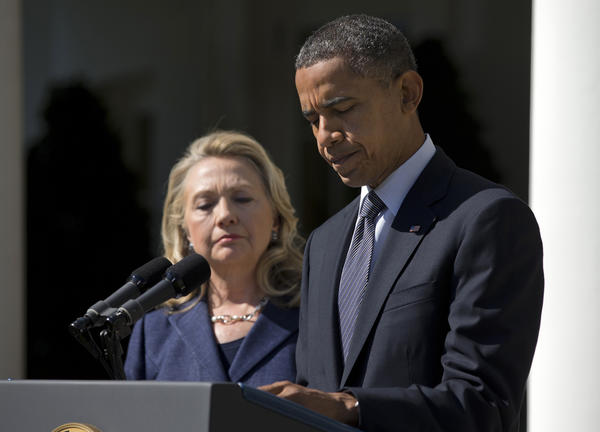 President Obama, accompanied by Secretary of State Hillary Rodham Clinton, speaks about the death of U.S. ambassador to Libya Christopher Stevens, Wednesday in the Rose Garden of the White House in Washington.