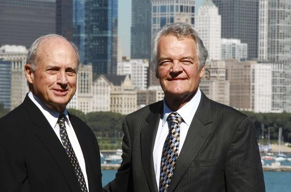 Retiring museum presidents, left, John McCarter, (Field Museum) and Dr. Paul Knappenberger (Adler Planetarium) at the lake front in Chicago