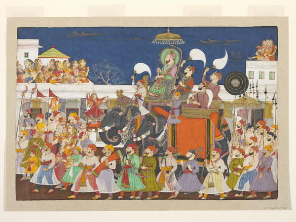 Procession of Ram Singh II of KotaOpaque watercolor on paper.