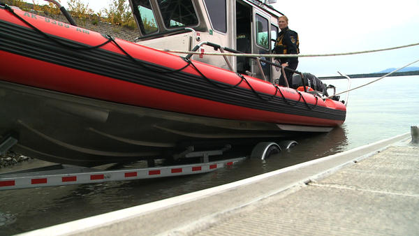 The boat's bow can lower down for easier access to other boats and it comes equipped with radar for inclement weather.