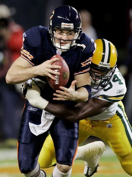 The Super-Bowl-bound Bears suffered just their third defeat of the season on an excruciatingly cold New Year's Eve, when Rex Grossman and Brian Griese combined to go 7-for-27 with five interceptions. Oh, Rexy. --Adam Lukach