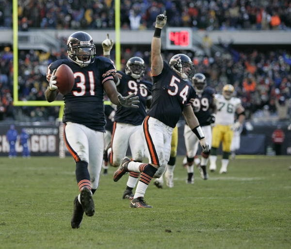 After starting 1-3 behind emergency rookie quarterback Kyle Orton, the Bears ripped off seven straight wins and welcomed the struggling Packers to Soldier Field. Still, despite their dominance and Green Bay's brutal record, one never knows when the Packers might lay a trap. But no! The Bears battered Favre all day, sacking and intercepting him twice, the second pick icing the game in the fourth when Nathan Vasher jumped a route and bagged a 45-yard pick-six. --Jack M Silverstein
