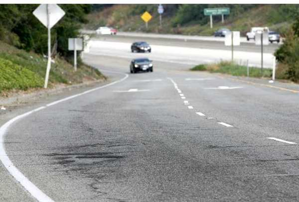 The Foothill (210) Freeway on-ramps and off-ramps through La Canada Flintridge will soon be fixed, like this one on the westbound 210 freeway at Gould Avenue showing pot holes.