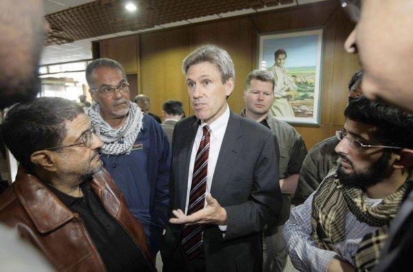 Then-U.S. envoy J. Christopher Stevens speaks to journalists in Benghazi, Libya, in April 2011. Stevens, who became ambassador to Libya this year, was killed during the protests at the U.S. Consulate in Benghazi.