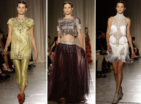Looks from the Marchesa spring - summer 2013 collection shown during New York Fashion Week.