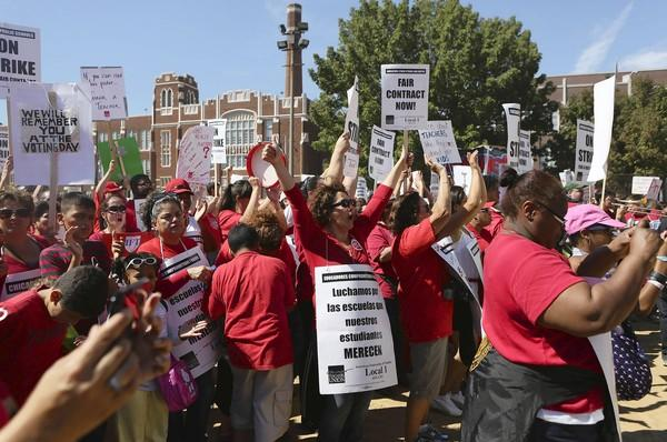 Hundreds of Chicago teachers rally on the third day of strike, Wednesday.