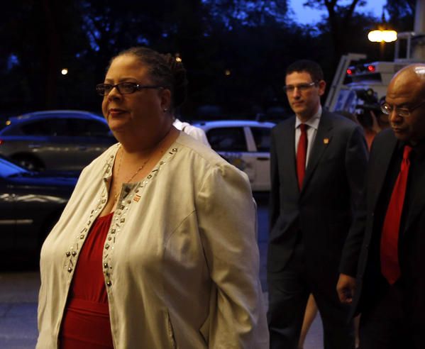 Chicago Teachers Union president Karen Lewis speaks outside the Hilton hotel as negotiations continue on the third day of the strike.