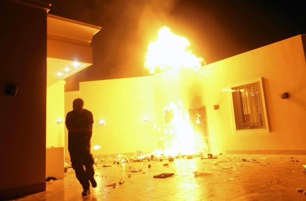 The U.S. consulate in Benghazi, Libya, is in flames Tuesday after an attack on the compound in which four U.S. diplomats, including Christopher Stevens, ambassador to Libya, were killed.