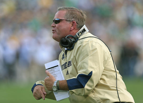 Notre Dame football coach Brian Kelly.