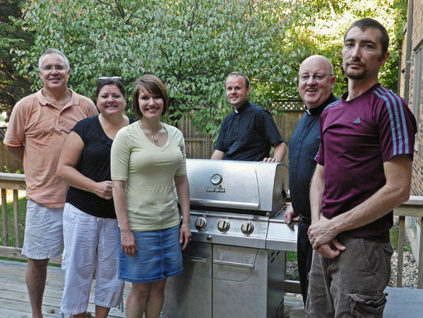 The St. Mary's Bazaar and Roast Beef Dinner will be Saturday and Sunday. From left are Craig and Beth Smith, Kristie Martin, the Rev. Jordan Samson, the Rev. Joe Holzhauser and Chris Martin. The Smiths and Martins are this year's bazaar chairmen and women.