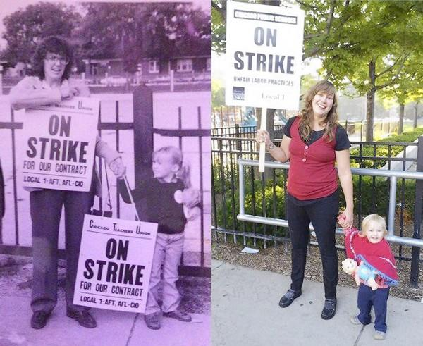 In 1983, teacher Kathleen Mayer, left photo, took her daughter Keelin along as she walked a picket line during a Chicago Teachers Union strike. This week, Keelin Mayer, now a teacher, has been bringing her daughter Opal Jane to demonstrations during another strike by the union.