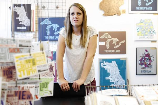 Jenny Beorkrem started working full time at her Ork Posters business in 2008 after selling posters of Chicago neighborhoods online.