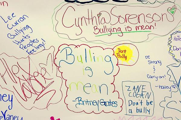 Spring Mills (W.Va.) Middle School students wrote anti-bullying messages Wednesday on a graffiti mural at their school.  Berkeley County Schools is hosting dozens of activities this week as part of its Olweus Bullying Prevention Kickoff week. Activities ranged from assemblies and skits to pledges and a Golden Rule day.