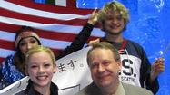 Gracie Gold and her coach, Alex Ouriashev (both foreground), at the World Team Trophy last April.  (Photo courtesy U.S. Figure Skating)