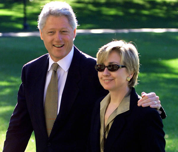 President Bill Clinton and First Lady Hillary Clinton on Oct. 12, 1999.