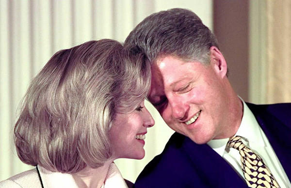 First Lady Hillary Clinton and President Bill Clinton in July 1996.