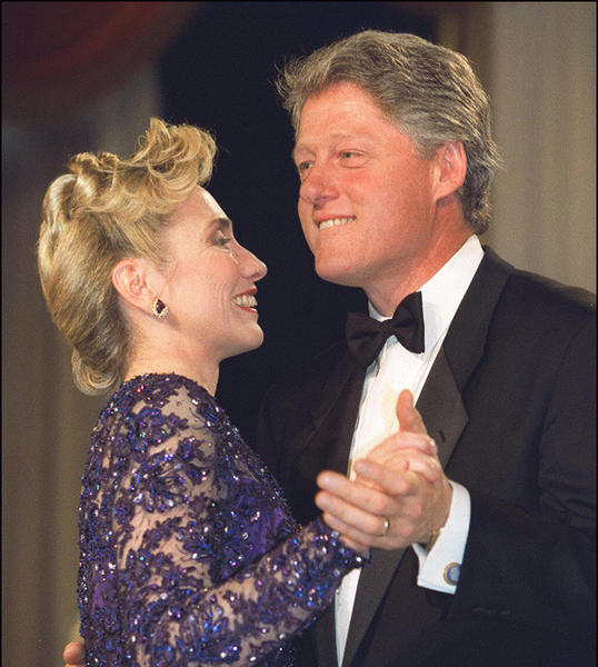 First Lady Hillary Clinton and President Bill Clinton during an on stage dance at the Arkansas inaugural ball in Jan. 1993.