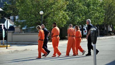 Several inmates are escorted by sheriff deputies to Somerset County Jail from their hearings before President Judge John M. Cascio Thursday morning. They are from left, Brandon Lee Clark, Samuel McFarland Jr., Matthew R. Hollada and Hali Elaine Crissey.