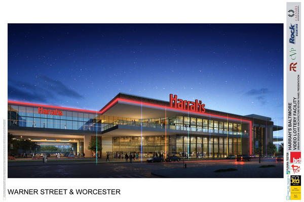 A rendering of the proposed casino on Russell Street in Baltimore.