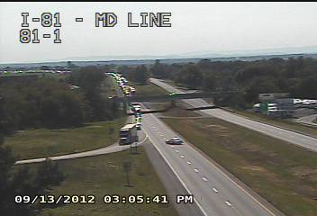 PennDOT cameras show the scene at mile marker 3 on Interstate 81 in Pennsylvania.
