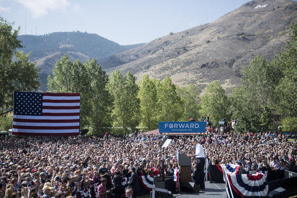 President Obama pauses while speaking during a campaign event in Lions Park in Golden, Colo.