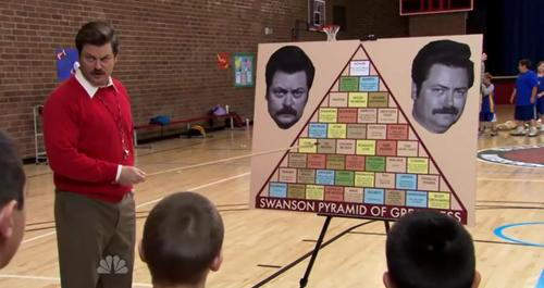 """I have been developing the Swanson Pyramid of Greatness for years. It's a perfectly calibrated recipe for maximum personal achievement. Categories include: Capitalism, God's way of determining who is smart, and who is poor. Crying, acceptable at funerals and the Grand Canyon. Rage. Poise. Property rights. Fish, for sport only, not for meat. Fish meat is practically a vegetable."""