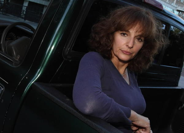 Chicago-born comic Cynthia Levin in the back of her Toyota Tacoma (which she is trying to get rid of) before she heads off for adventures on the London comedy scene.