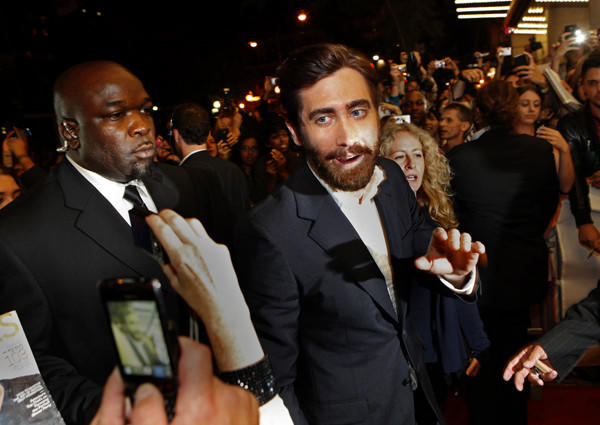 "Jake Gyllenhaal arrives for the premiere of ""End of Watch."""