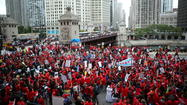 Teachers rally at Michigan and Wacker