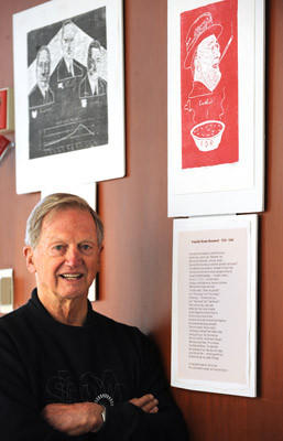 Joe Illick, a Bethlehem native, poses with some of his presidential woodcuts including Franklin Delano Roosevelt, upper right, in the Rotunda at Bethlehem City Hall.