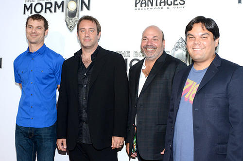 "Matt Stone, left, Trey Parker, Casey Nicholaw and Robert Lopez attend ""The Book Of Mormon"" on opening night at the Pantages Theatre."