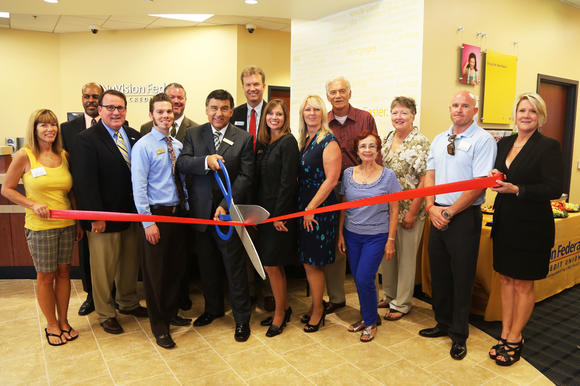 NuVision Federal Credit Union celebrates the opening of its new Costa Mesa branch with representatives from the city of Costa Mesa, the Costa Mesa Chamber of Commerce, Rep. John Campbell¿s office and Assemblyman Allan Mansoor¿s office.