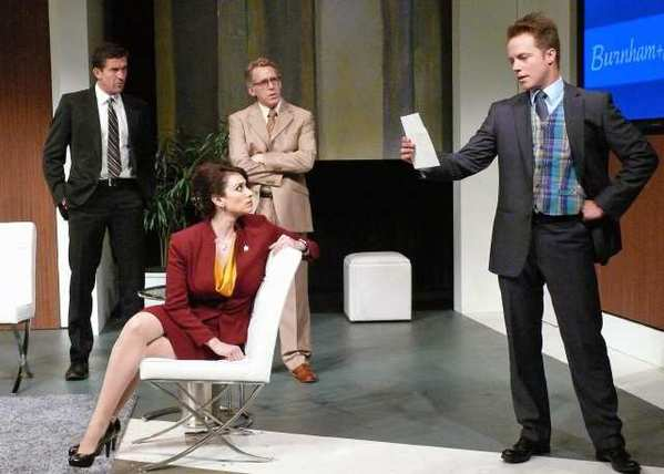 'Frank'(Jonathan Cake),'Rick' (Stephen Spinella),'Melanie' (Lesli Margherita) and 'Carl' (Graham Hamilton) in The Gronholm Method at the Falcon Theatre.