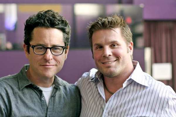 """Star Trek"" director J.J. Abrams (left) with Eugene ""Rod"" Roddenberry."
