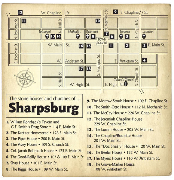 a map of the stone house and churches of Sharpsburg.