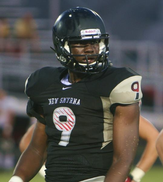 New Smyrna Beach defensive end Davarez Bryant has only been playing football for about a month, and he already has interest from Alabama, he says. (AUG. 25, 2012)
