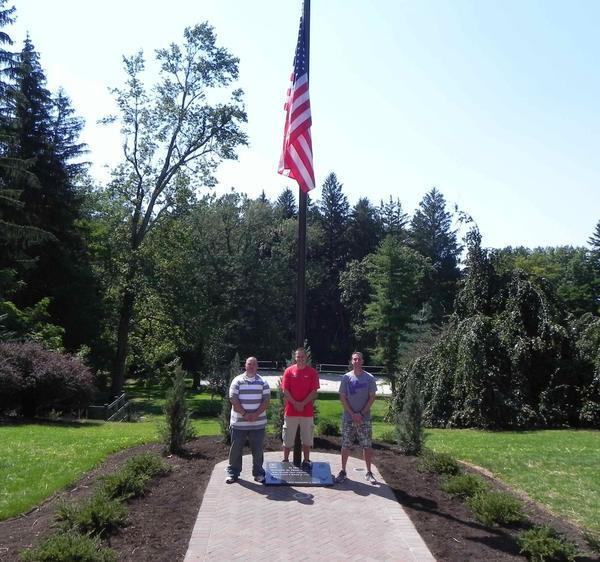 Penn State Mont Alto and its student Veterans Club joined forces to install a memorial on campus to recognize U.S. military veterans. From left, Brian Hall, president of the campus student Veteran's Club; JT Berger, veteran and student; and Kevin Faust, veteran and student.