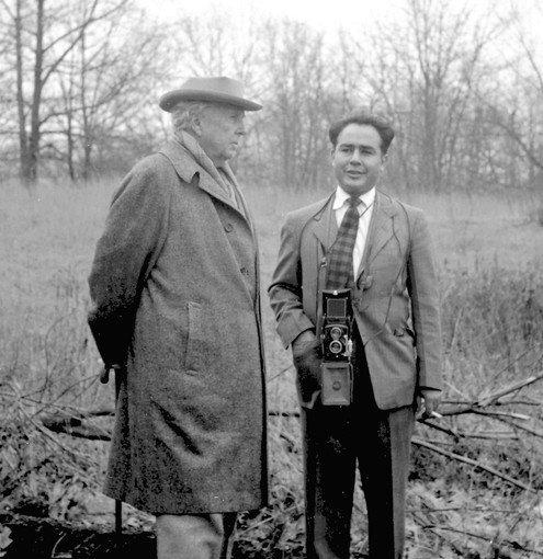 Pedro E. Guerrero, right, stands with architect Frank Lloyd Wright in 1949.