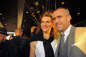 Comedian, singer, actress and author Sandra Bernhard poses with fashion designer Thom Browne during a fundraiser for marriage equality at Jimmy's, atop the James Hotel in downtown Manhattan.