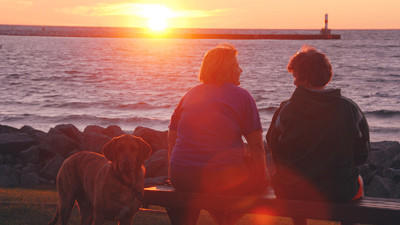 Viewing of sunsets along Petoskey's waterfront is a popular evening activity during the summer season.